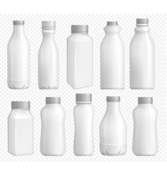 milk bottle plastic blank package with cap vector image