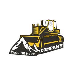 modern logo bulldozer and mountains vector image
