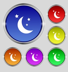 Moon icon sign Round symbol on bright colourful vector