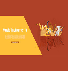 musical instruments shop web page with guitar vector image