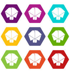 origami tree icons set 9 vector image