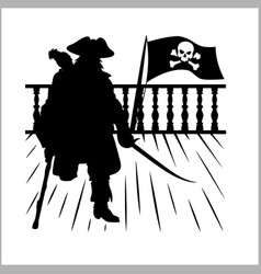 Pirate and jolly roger - silhouette vector