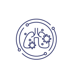 Pneumonia line icon with virus and lungs vector