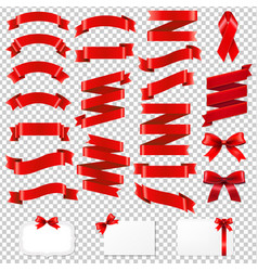 Red ribbons big collection vector