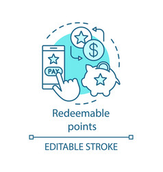 Redeemable points concept icon cashback redeem vector