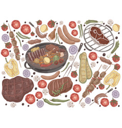 roasted meat with vegetables grilled steak vector image