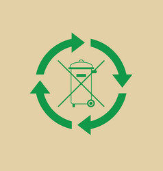 rubbish bin with recycle symbol green arrows logo vector image