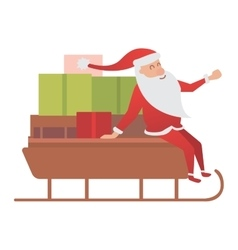 Santa claus driver sled delivery vector