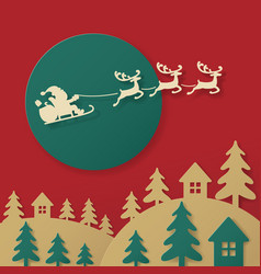 Santa paper cutting art with reindeers and cart vector