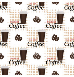 seamless background with coffee beans and cups vector image