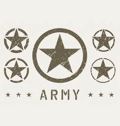 Set army star grunge effect military insignia vector