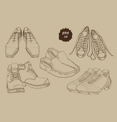 set hand drawn graphic men footwear with sepia vector image vector image