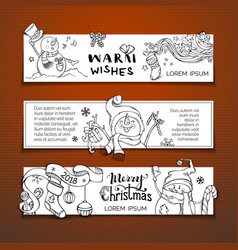 set of horizontal christmas banners with doodles vector image