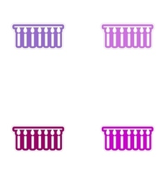 Set of paper stickers on white background garland vector