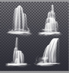 set realistic cascade waterfall fountain water vector image