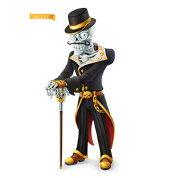 skeleton in retro costume halloween day the vector image