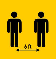 Social distancing keep 6 feet distance vector