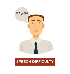 Speech difficulty symptom stroke sign disease vector