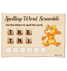 spelling word scramble game with word kitten vector image