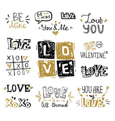 St valentines day hand lettering compositions vector