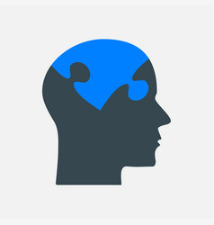 The black puzzle piece head - brain vector