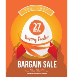 The Easter eggs banner for Easter sales with vector image