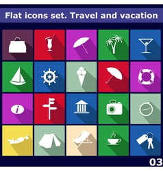 Traveling and vacarion Flat icons vector image