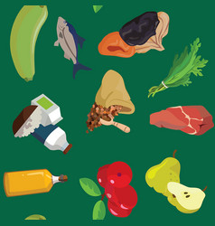 Vegetables fish dried fruits greens cereals vector
