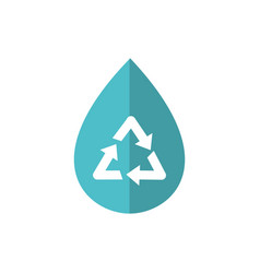 water drop recycle green energy icon vector image
