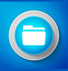 white folder icon isolated on blue background vector image