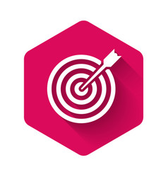 White target with arrow icon isolated with long vector