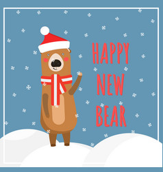 winter snowy holidays greeting card with cute bear vector image
