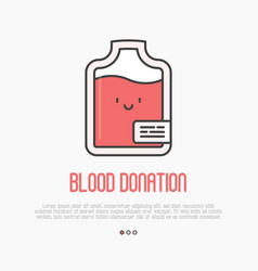 blood donation concept thin line blood bag icon vector image