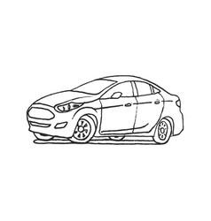 car hand drawn outline cartoon doodle vector image