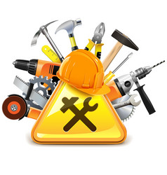 Construction Tools with Sign vector image vector image