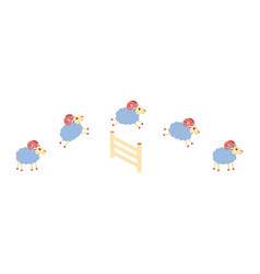 herd of lamb or sheep jumping over the fence vector image