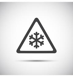Triangular warning symbol simple of snowflakes vector image