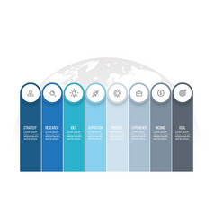 business infographics presentation with 8 columns vector image vector image