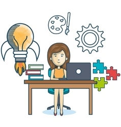 Education online woman desk laptop vector
