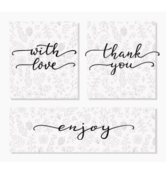 Hand written calligraphy style messages set vector image vector image