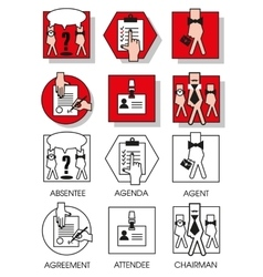 Line icons set of the agreements and meetings vector image vector image