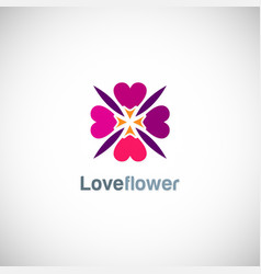 love circle flower logo vector image