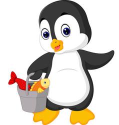 Penguin fishing vector