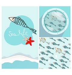 Set of nautical themed designs with swimming fish vector image vector image