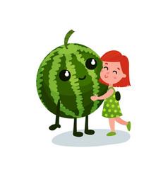 sweet little girl hugging smiling giant watermelon vector image