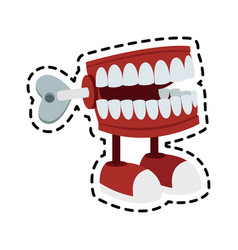 chattering teeth wind up toy icon image vector image