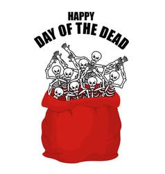day of the dead skeletons in sack skull in bag vector image vector image