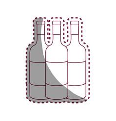 Sticker line tasty wine bottles beverage icon vector