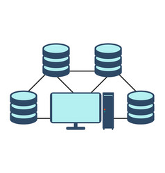 database network icon flat vector image vector image