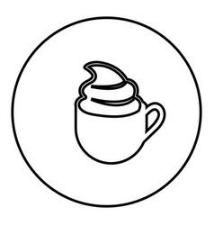 figure emblem cup coffee with cream icon vector image vector image